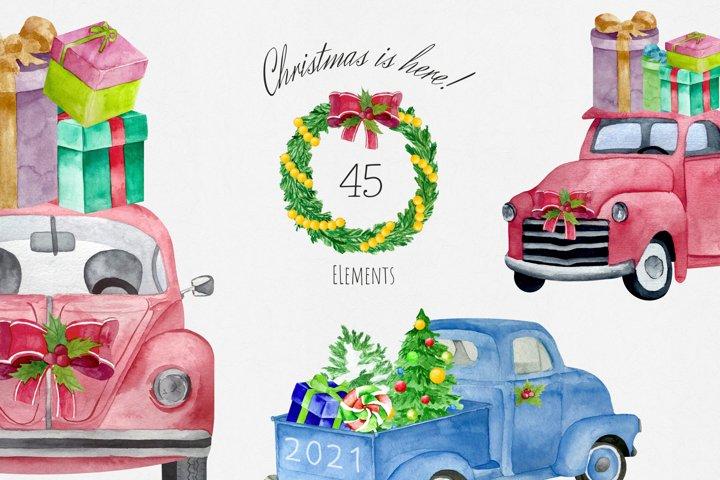 Watercolor Christmas Retro Cars Set