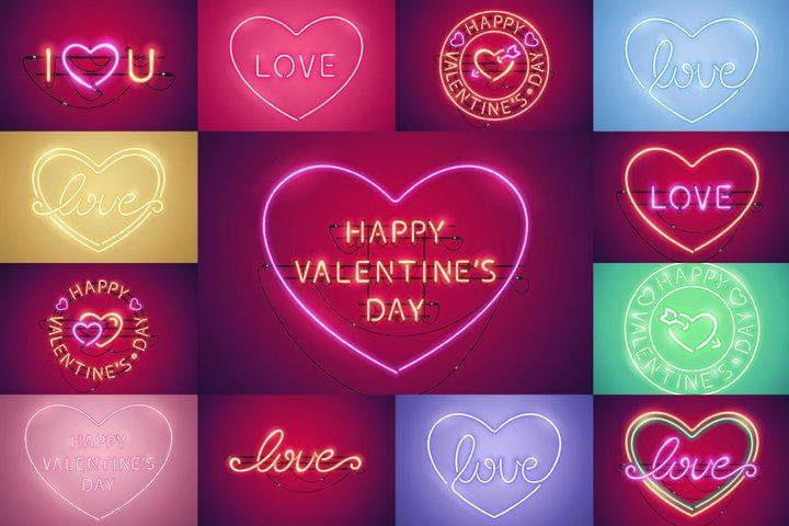 Happy Valentines Day Neon Set