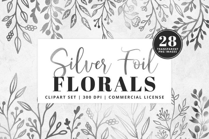 Silver Foil Floral Clipart Set | 28 Pcs | Transparent PNG