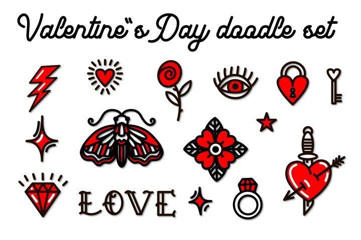 Valentines day doodle set. Valentine SVG. Love SVG