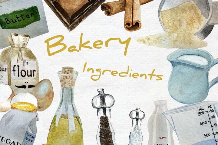 Watercolor Bakery Ingredients Clipart, Baking Clipart