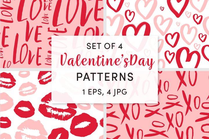 Set Of 4 Valentines Day patterns