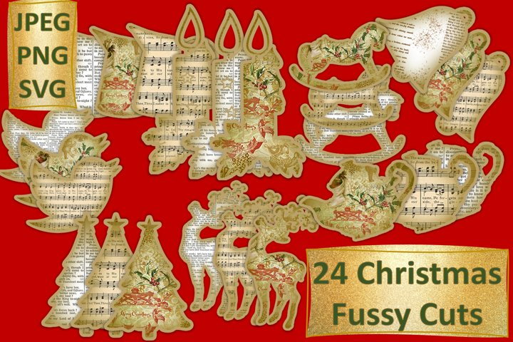 Christmas Fussy Cuts Decorations SVG, PNG and JPEG