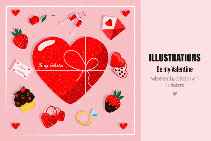 Valentine day collection with illustrations