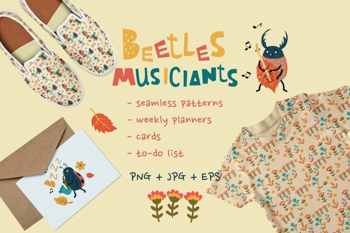 Collection of cute bugs musicians