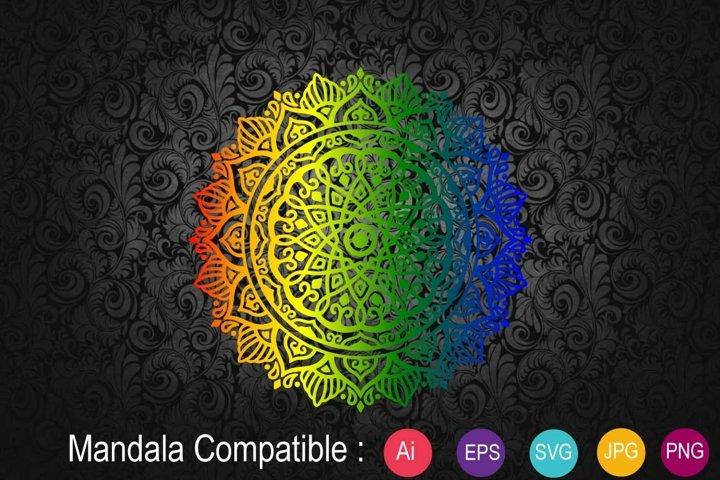 Mandala Clipart Rainbow - SVG,EPS 10