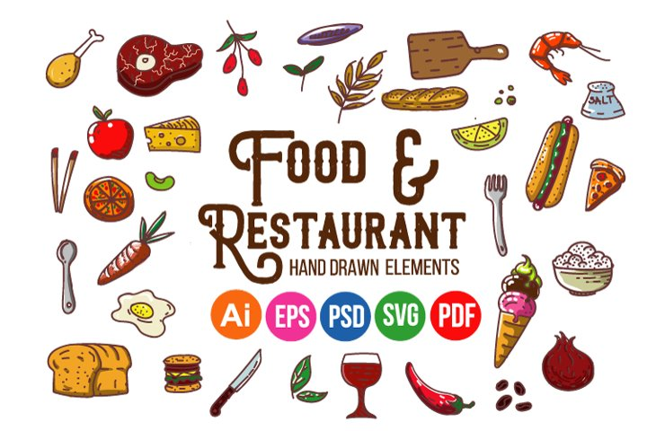 Food and Restaurant Hand Drawn Elements
