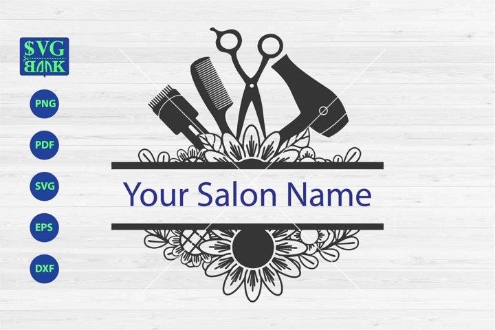Hair salon split monogram svg, hair salon tools svg dxf