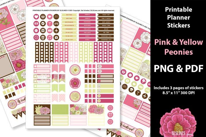 Printable Planner Stickers - Peonies in Pink