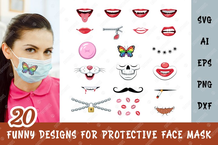 SVG Bundle. 20 Funny designs for protective face mask.
