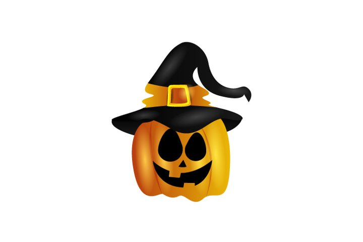 Halloween Pumpkin Face with Hat Witch