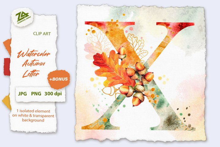 Fall Watercolor Letter, Monogram X clipart JPG PNG