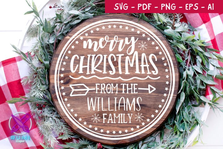 Merry Christmas Wood Round Sign , Christmas SVG Cut File