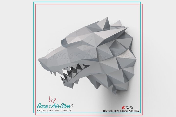 Paper cut wolf low poly
