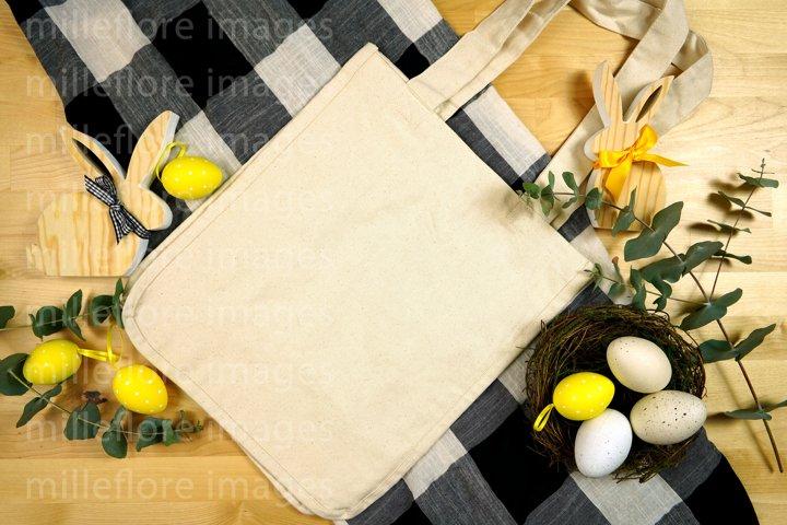 Easter Farmhouse Easter Egg Hunt Tote Bag Flatlay Mockup