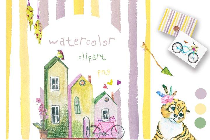 Holiday set watercolor
