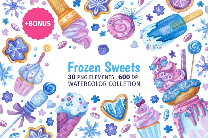 Cute baking clipart for frozen birthday card or invitations