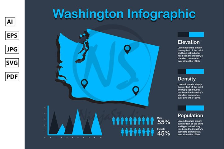 Washington State USA Map with Set of Infographic Elements