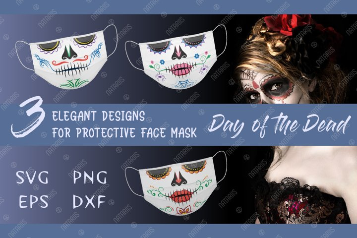 SVG Bundle. 3 Elegant Sugar skulls designs for face mask.