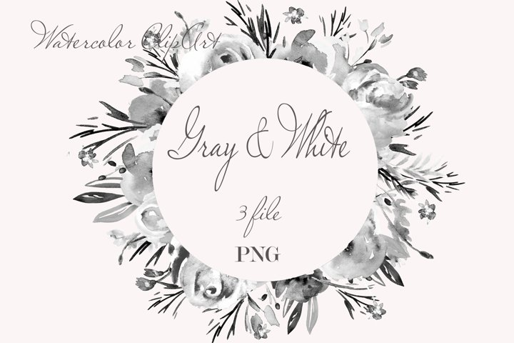 Gray white Flowers clipart Watercolor for invetation
