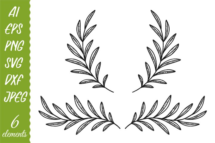 Olive branches and wreaths. Outlines and silhouettes.