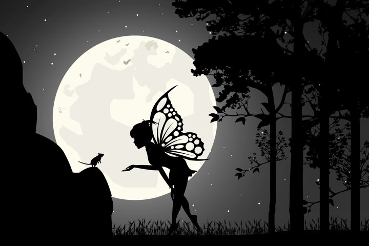 cute fairy and mouse silhouette