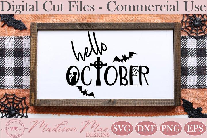Hello October, Halloween Sign SVG
