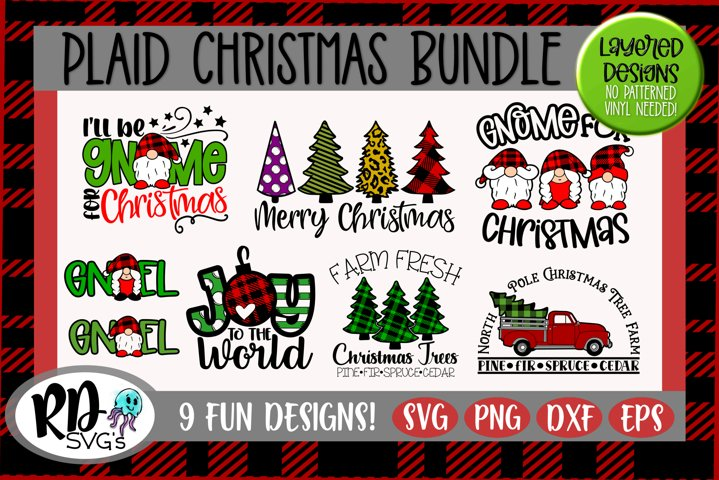 Plaid Christmas - A Layered Plaid Christmas Bundle of SVGs