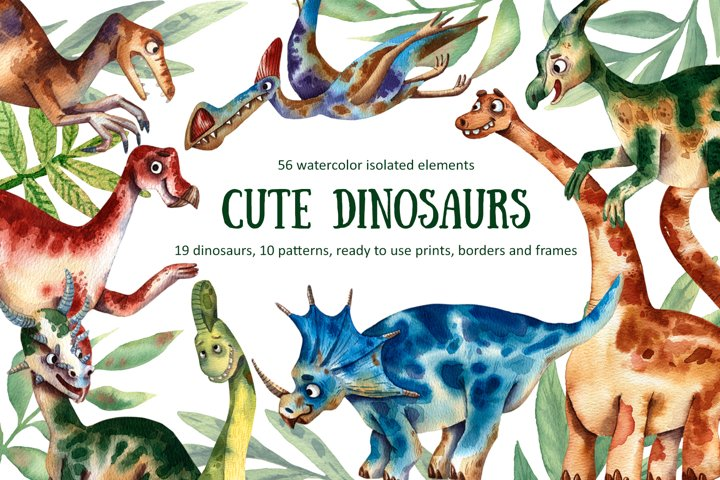Cute Dinosaurs - Watercolor Clip Art