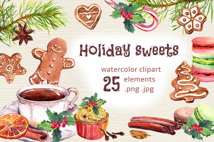 Christmas gingerbread PNG cookies clipart, Watercolor bundle