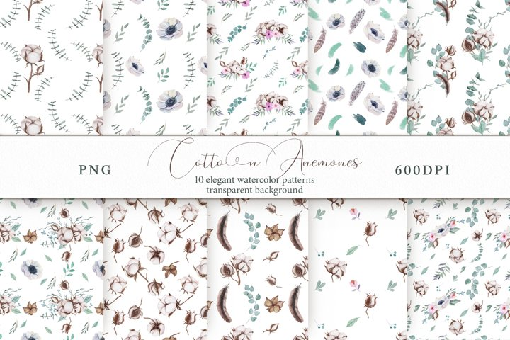 Cotton & Anemones Seamless Patterns