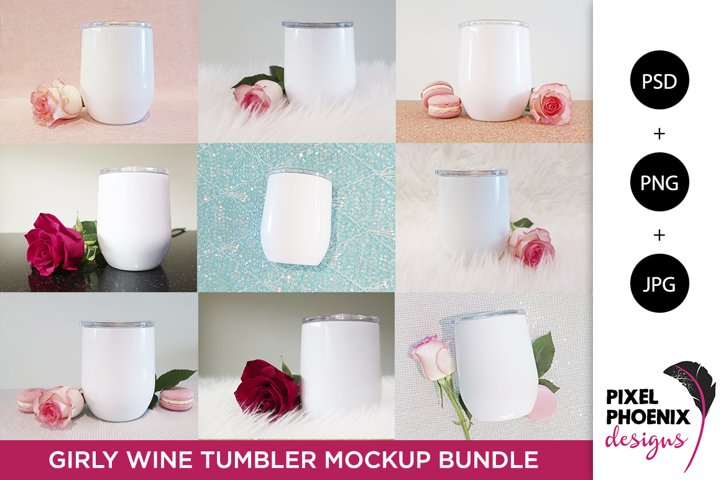 Girly Wine Tumbler Mockup Bundle