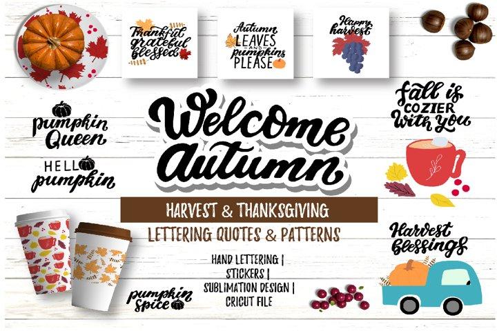 Harvest & Thanksgiving quotes & patterns bundle svg, dxf