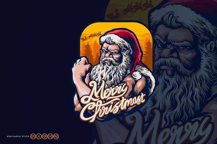 Strong Cool Santa Claus Christmas with Background Tree