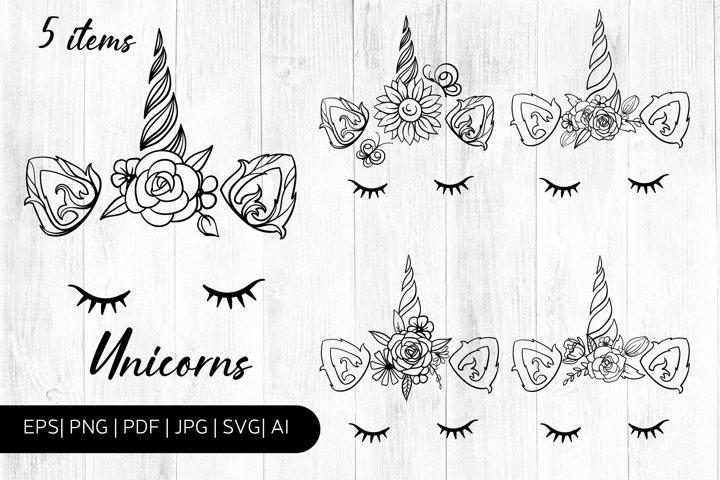 Line Art Unicorn Faces with Flowers SVG