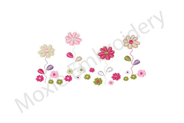 Flowers Embroidery Design, Floral Border Design