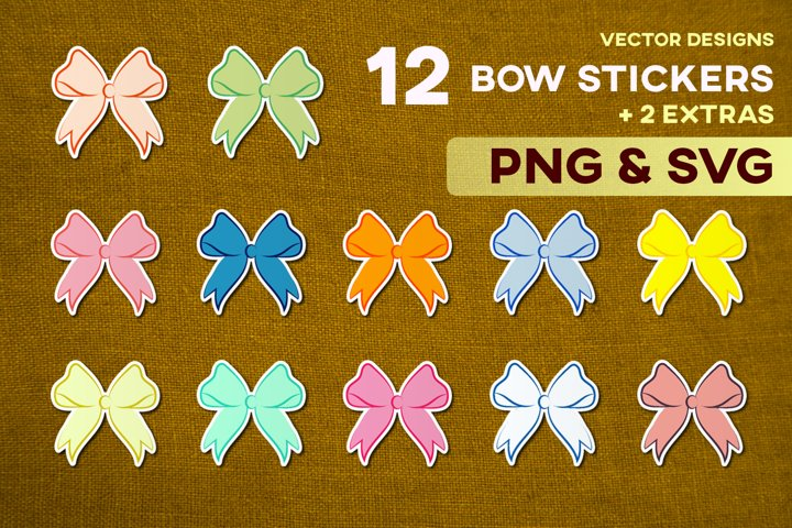 Cute Bow Stickers SVG Sublimation Bundle Craft Vector Cricut