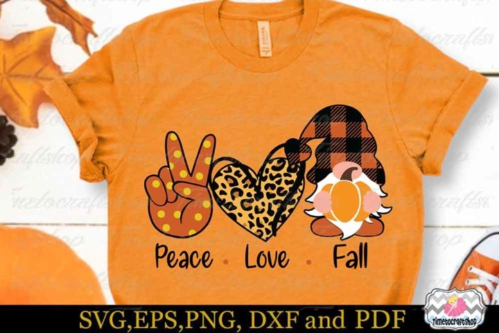Peace Love Fall SVG, Fall Gnomes SVG, Thanksgiving Gnome SVG