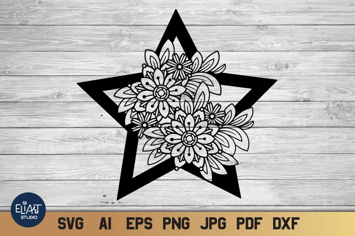 Floral Star SVG | Celestial SVG with Flowers