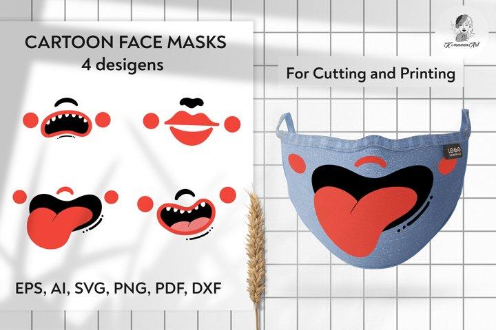 Cartoon mouth face mask designs. Smile face. SVG