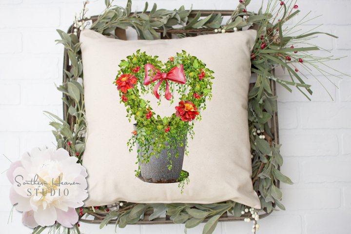 RED MARIGOLD HEART TOPIARY - PNG