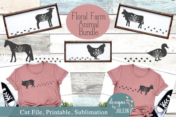 Walking Floral Farm Animals SVG, Sublimation, Farmhouse, PNG