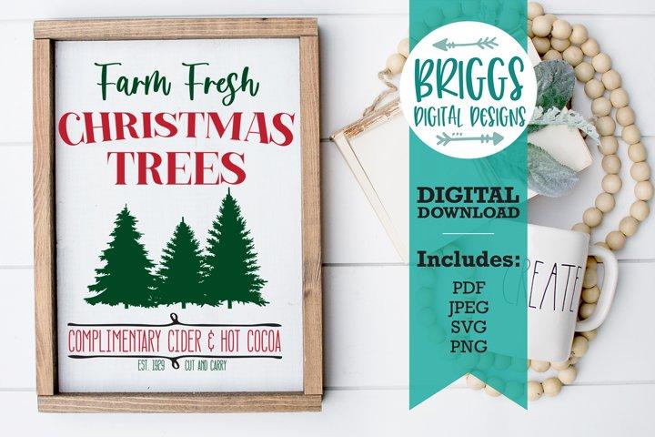 Farm Fresh Trees | Christmas Sign SVG | Farmhouse Sign SVG