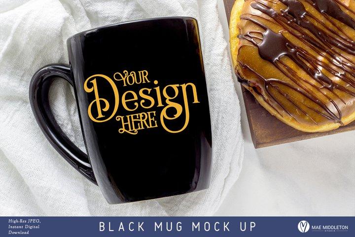 Black Mug Mock up, styled photo