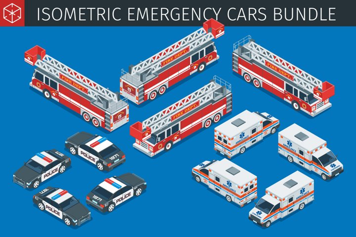 Isometric emergency service cars