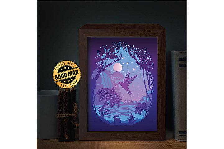 HUMMINGBIRDS 3D Paper Cutting Light Box - Shadow Box