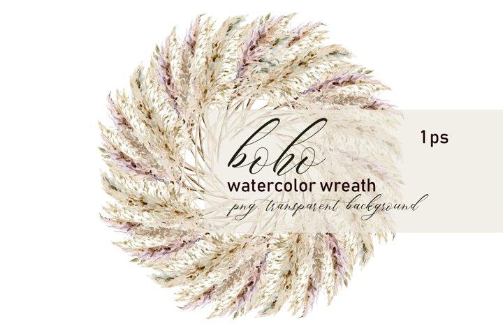 Pampas grass wreath clipart