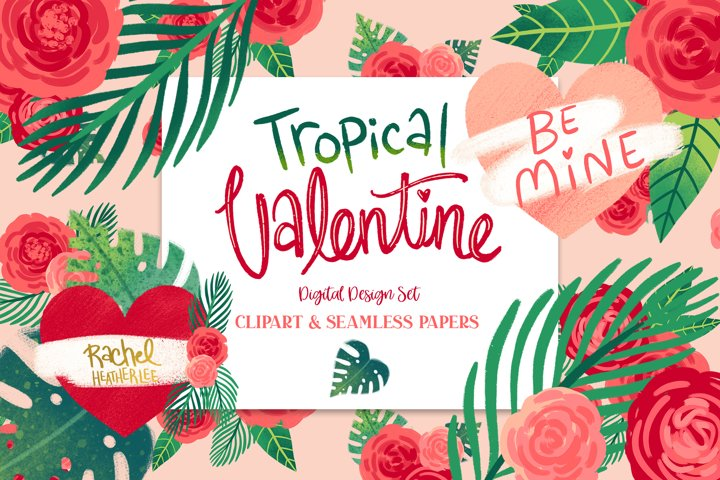 Tropical Valentine Clipart & Patterns
