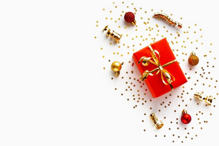 Christmas red gift on white background