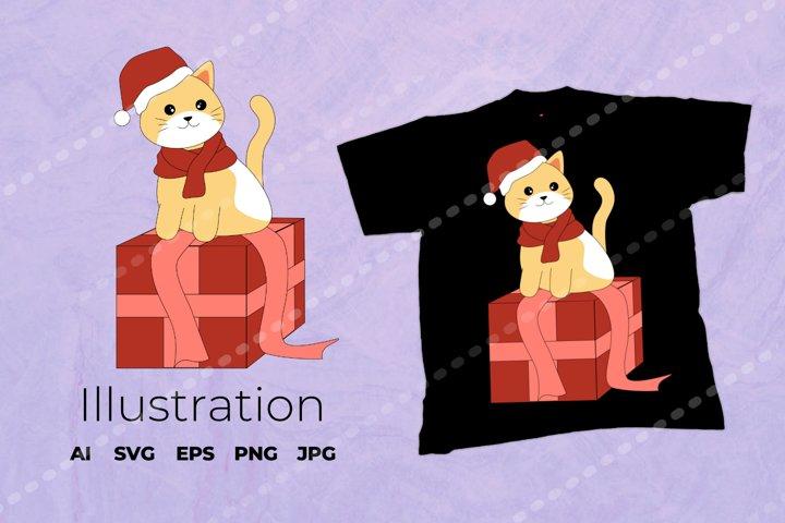 Christmas Cat Illustration | Cat Vector